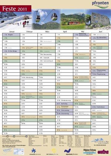 Feste und Ferien Jahreskalender 2011 - pfronten.de