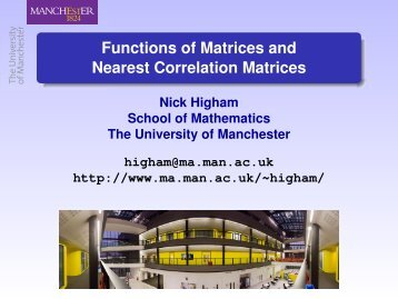 Functions of Matrices and Nearest Correlation Matrices - NAG