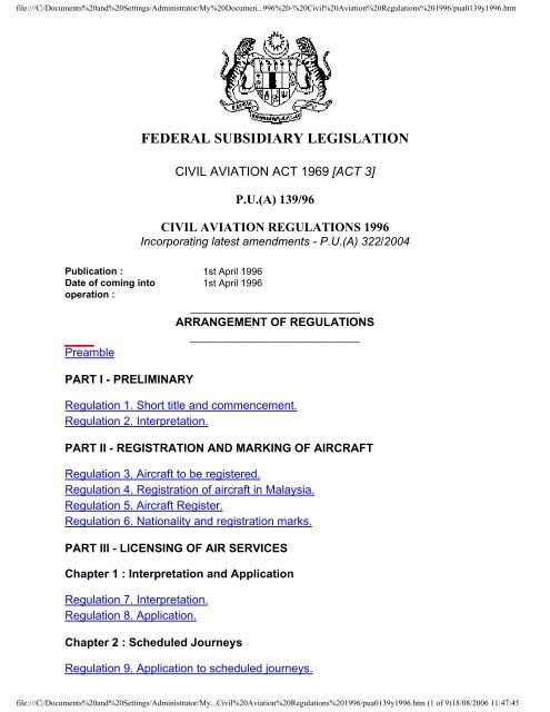 Malaysian Civil Aviation Regulation 1996 -Mcar96 (3)