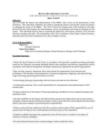 finance officer job description pdf