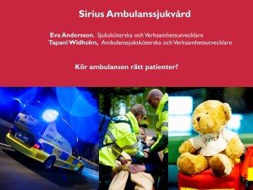 Kör ambulansen rätt patienter? - Webbhotell SLL
