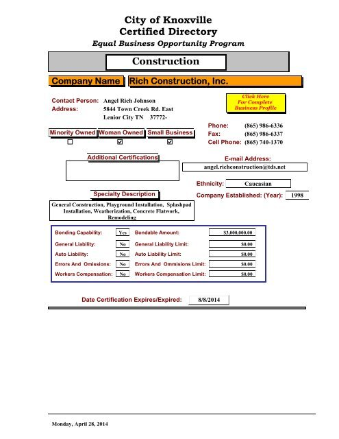 EBOP Certified Business Directory [PDF] - City of Knoxville