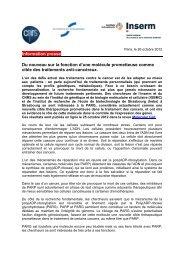 Information presse Du nouveau sur la fonction d'une ... - CNRS Alsace