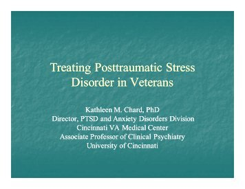 Treating Posttraumatic Stress Disorder in Veterans