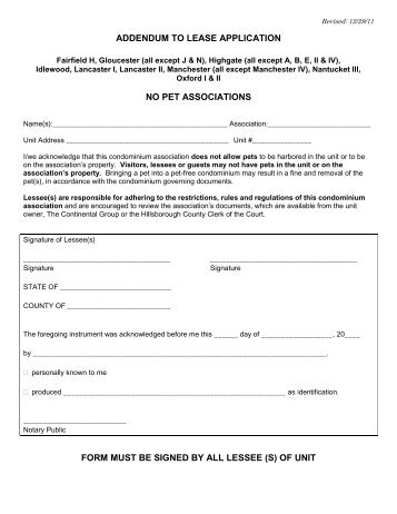 Addendum To Lease Application