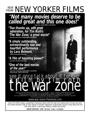 THE WAR ZONE - New Yorker Films