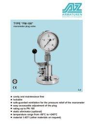 TYPE FM-100 Manometer plug-valve