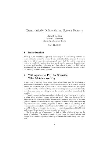 Quantitatively Differentiating System Security