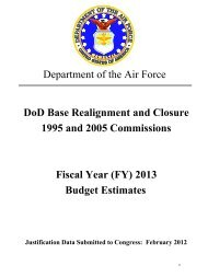 BRAC Commissions 1995 and 2005, FY13 - Air Force Financial ...