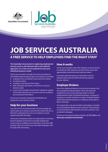 JoB SErvicES AuStrAliA - G-Force Recruitment