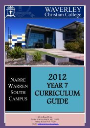 2012 YEAR 7 CURRICULUM GUIDE - Waverley Christian College