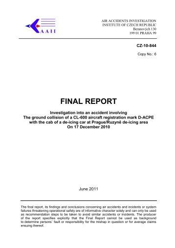 FINAL REPORT - Ústav pro odborné zjišťování příčin leteckých nehod