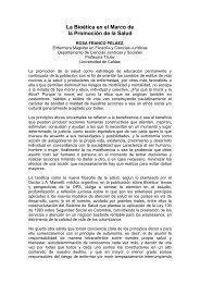 La Bioética en el Marco de la Promoción de la Salud - Hacia la ...