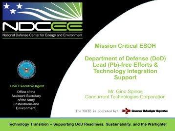 (DoD) Lead (Pb)-free Efforts & Technology Integration ... - NDCEE