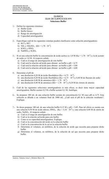 QUIMICA GUIA DE EJERCICIOS Nº4 Soluciones Buffer 1.- Defina ...