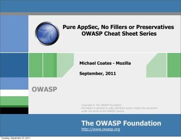 The OWASP Foundation OWASP - OWASP AppSec USA 2011