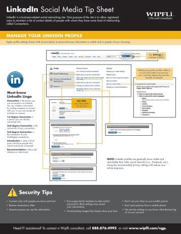 LinkedIn Social Media Tip Sheet - Wipfli
