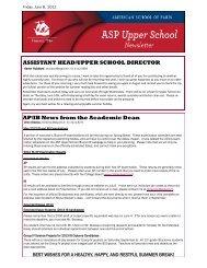 ASSISTANT HEAD/UPPER SCHOOL DIRECTOR AP/IB News from ...
