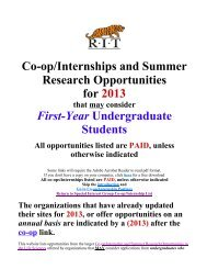 Co-op/Internships and Summer Research Opportunities for 2013 ...