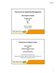FEM Upcoming Events in 2012 - Forum for Expatriate Management
