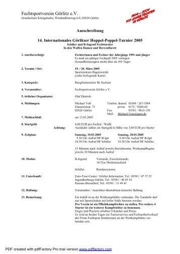 Ausschreibung Hoppel-Poppel 2005
