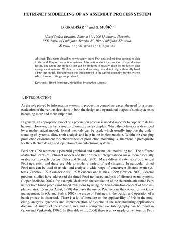 PETRI-NET MODELLING OF AN ASSEMBLY PROCESS SYSTEM