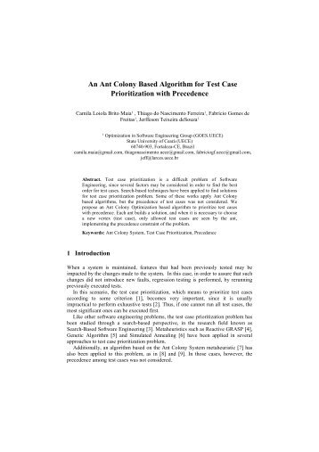 An Ant Colony Based Algorithm for Test Case Prioritization with ...