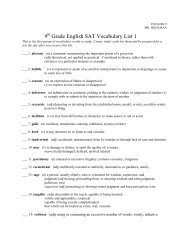SAT Vocabulary Lesson and Practice: Lesson 9 - InstructorWeb