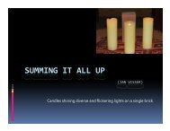 slideshow on Summing it all up: Candles shining diverse and ...