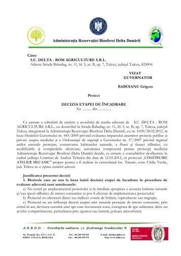 SC DELTA - ROM AGRICULTURE SRL Adresa: Strada Babadag, nr ...
