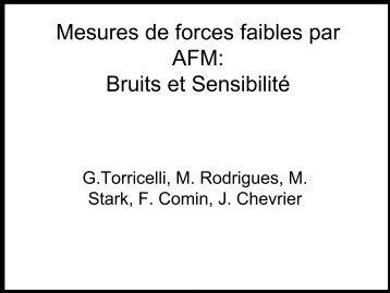 Mesures de forces faibles par AFM: Bruits et Sensibilité