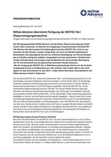 Nilfisk-Advance übernimmt Fertigung der BIOTEC No1 ...