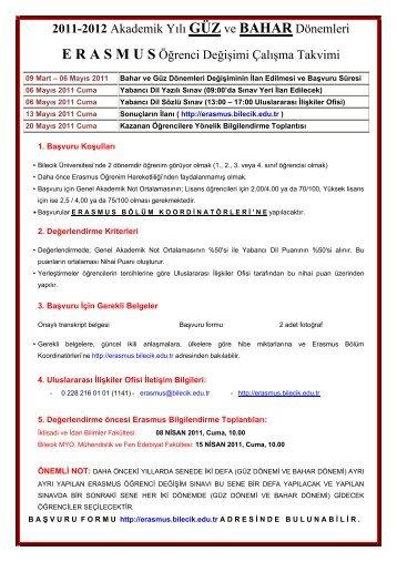 2011-2012 Akademik Yılı GÜZ ve BAHAR Dönemleri E R A S M U S ...
