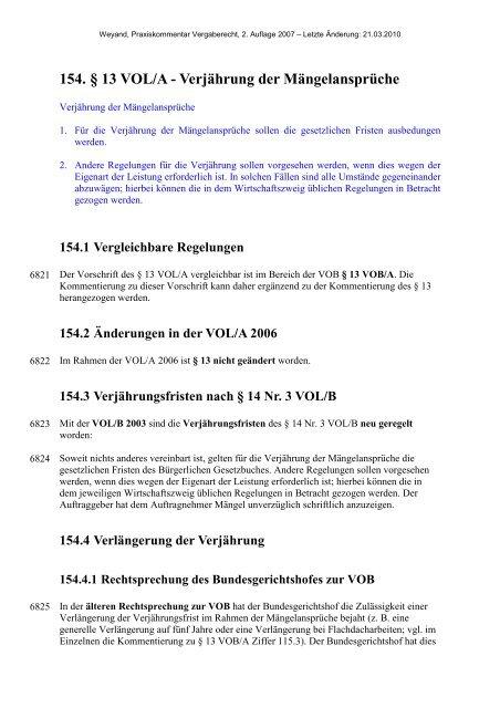 154. § 13 VOL/A - Verjährung der Mängelansprüche - Oeffentliche ...