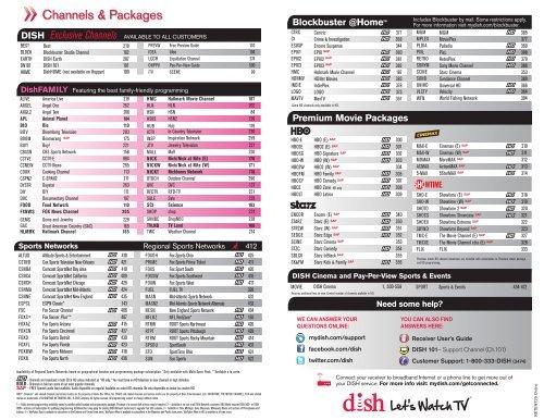 Dish Channels & Packages - OpticalTel