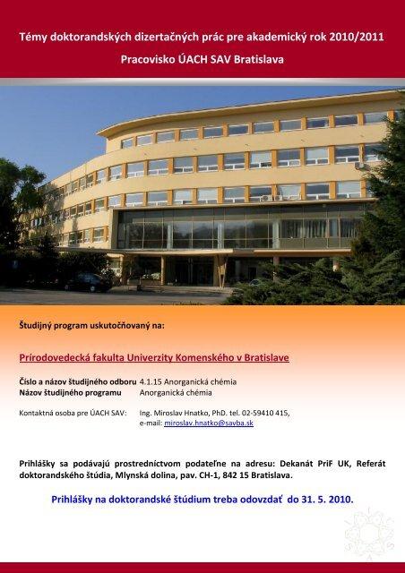 Témy doktorandských dizertačných prác pre akademický rok ... - SAV