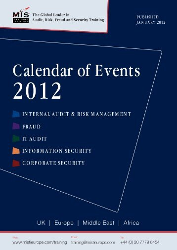 Calendar of Events - MIS Training