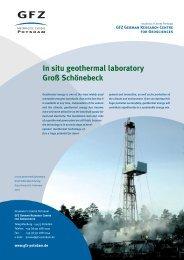 In situ geothermal laboratory Groß Schönebeck