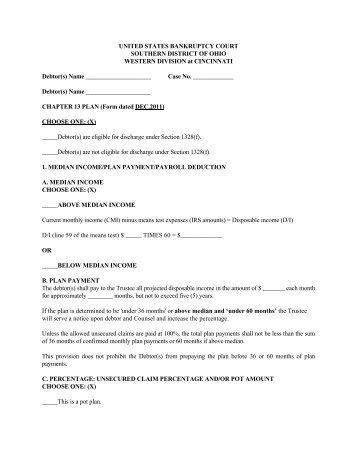Division CHAPTER 13 PLAN AND RELATED MOTIONS Name o