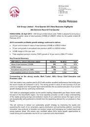 First Quarter 2013 New Business Highlights - AIA.com