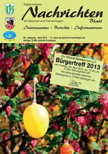 Nachrichtenblatt April 2013 - Werbegemeinschaft Geismar ...
