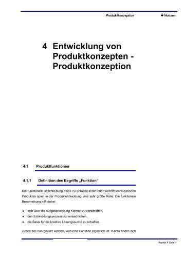 4 Entwicklung von Produktkonzepten - Produktkonzeption