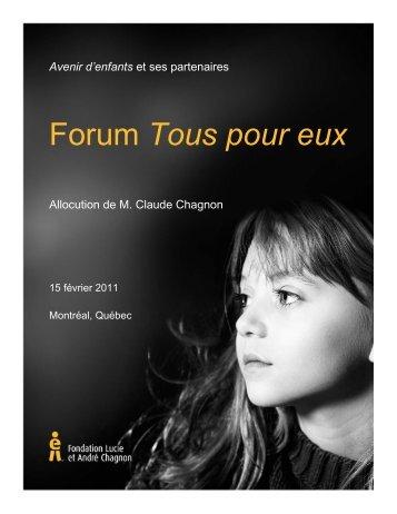 Allocution de M. Claude Chagnon