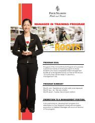 manager in training program - Four Seasons Hotels and Resorts Jobs