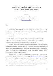 EUROPSKA MREŽA O BAŠTINI (HEREIN) - Ministarstvo kulture RH