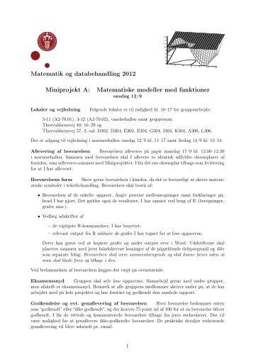 Matematik og databehandling 2012 Miniprojekt A: Matematiske ...