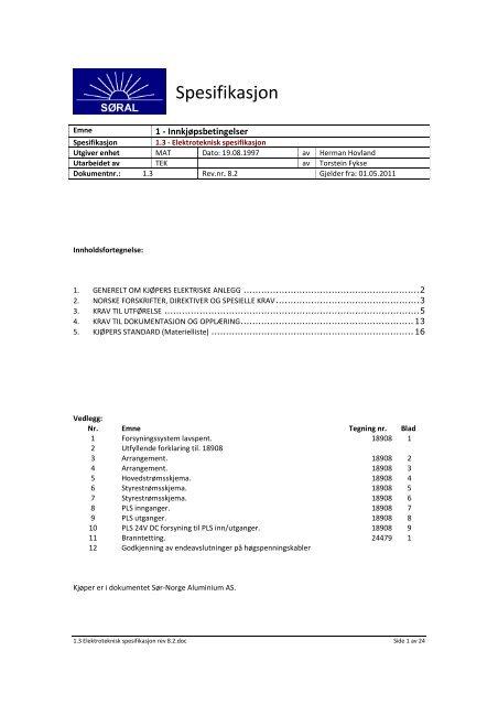 1.3 Elektroteknisk spesifikasjon rev 8.2. - Sør-Norge Aluminium AS