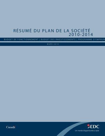 Résumé du plan de la société 2010-2014 - EDC