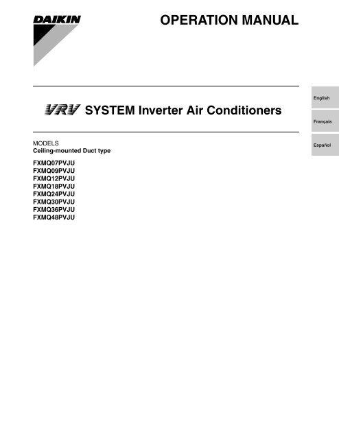 Daikin Split System Air Conditioner Operation Manual | Sante