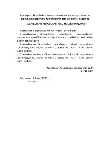Azərbaycan Respublikası vətəndaşının ümumvətəndaş, xidməti və ...